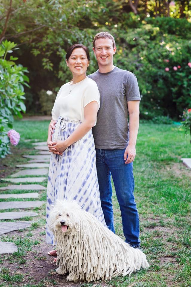 Foto postada por Mark Zuckerberg ao anunciar a gravidez de Priscilla Chang