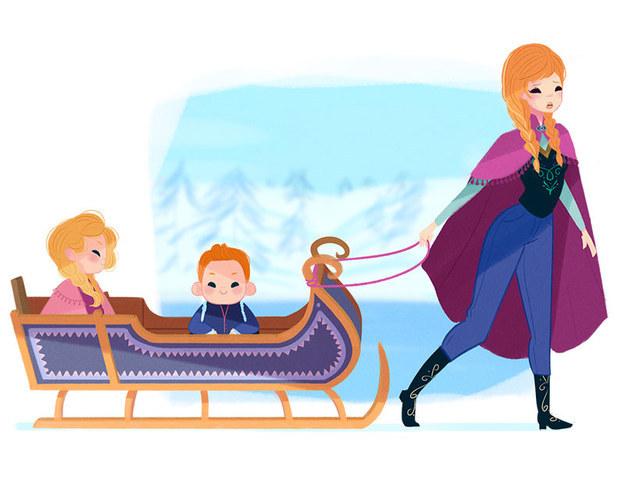 Anna Vida de mãe: Anna é a mãe motorista. Sente como se estivesse sempre no trenó, carregando seus filhos pelo gelo para a aula de colheita, para as lições mágicas com os trolls e encontros para brincar com os filhos de Olaf.