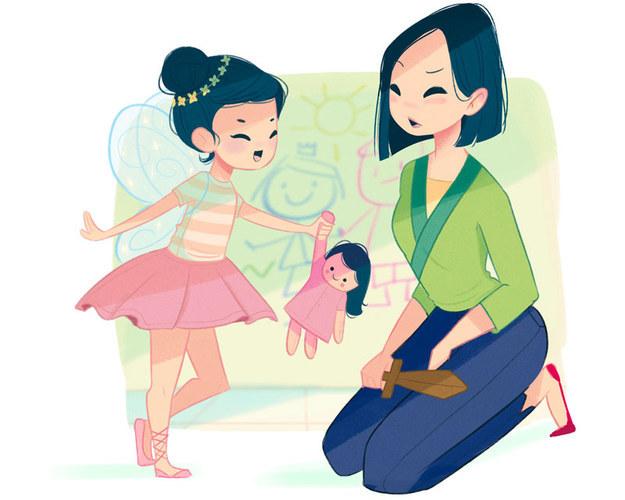 """Mulan Vida de mãe: Mulan tem uma filha que é daquelas super femininas, que adoram rosa e lacinhos, e a Mulan simplesmente não sabe o que fazer com ela. Muitas noites ela reclama com Li Shang: """"Eu, sozinha, derrotei os Hunos e ainda assim ela idolatra nossa vizinha Miss Chen porque ela é boa em fazer maquiagens!"""""""