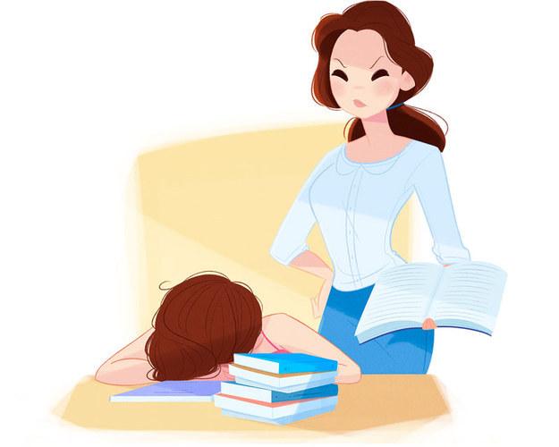 """Bela Vida de mãe: Bela é uma dedicada mãe que ensina seus filhos em casa, mas ela acha bem mais difícil dar aula para seus filhos do que para a Fera, que diz, para sua ira: """"Eu só era um bom aluno porque achava você bonitona, Bela""""."""