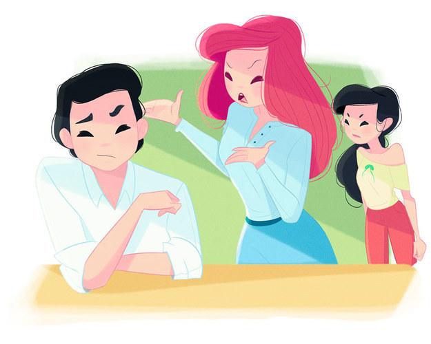 """Ariel Vida de mãe: Ariel está constantemente discutindo com seu marido sobre o quanto de liberdade eles devem dar à filha. """"Você está brincando, Eric?"""", ela diz com frequência. """"Quando eu tinha a idade dela eu pensei que um garfo era um pente e praticamente vendi minha alma para uma bruxa para ter um namorado! De jeito nenhum ela vai à feira sozinha!""""."""
