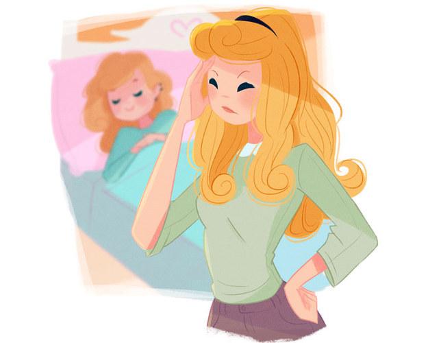 """Aurora Vida de mãe: Aurora tem uma filha que dorme até tarde demais. Isso a deixa louca, mas quando ela briga com a filha, obtém essa resposta: """"Me deixa, mãe. O pai disse que quando você tinha minha idade, dormiu durante dias!""""."""