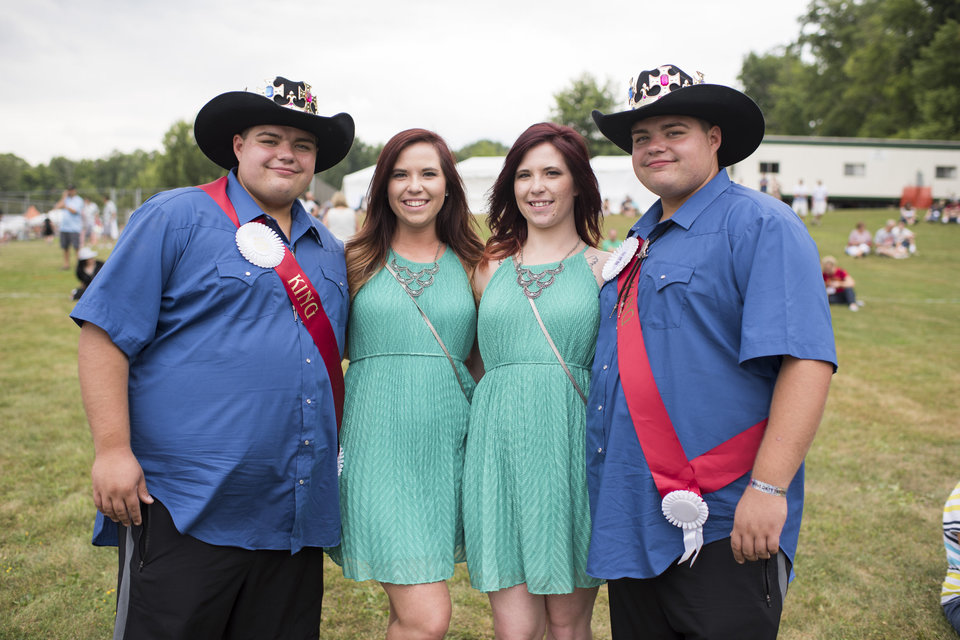 From left, Skyler Nick, Hallie (last name withheld), Katie (last name withheld) and Spencer Nick pose for a portrait at the 40th annual Twins Days Festival in Twinsburg, Ohio on August 8, 2015. Photo by Dustin Franz