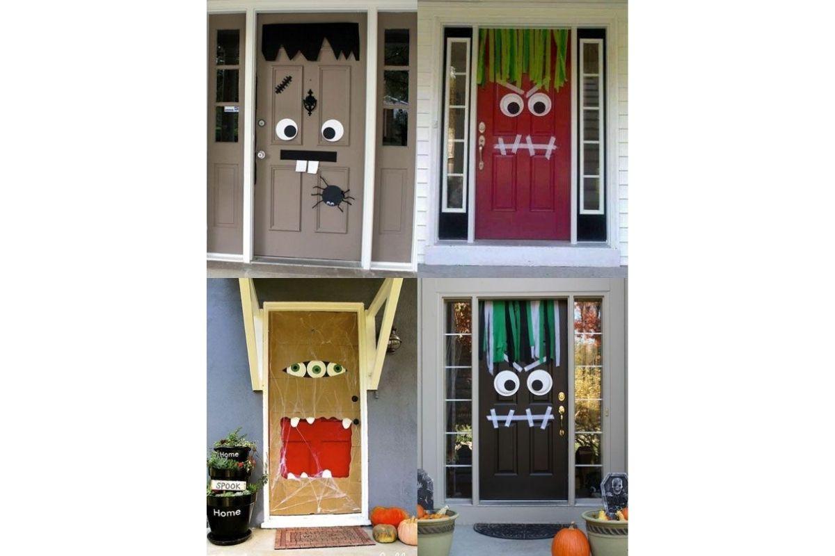 Portas também podem receber decoração de Halloween