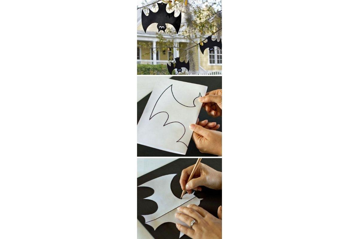 Decore a área externa da sua casa com desenhos de morcego para o Halloween