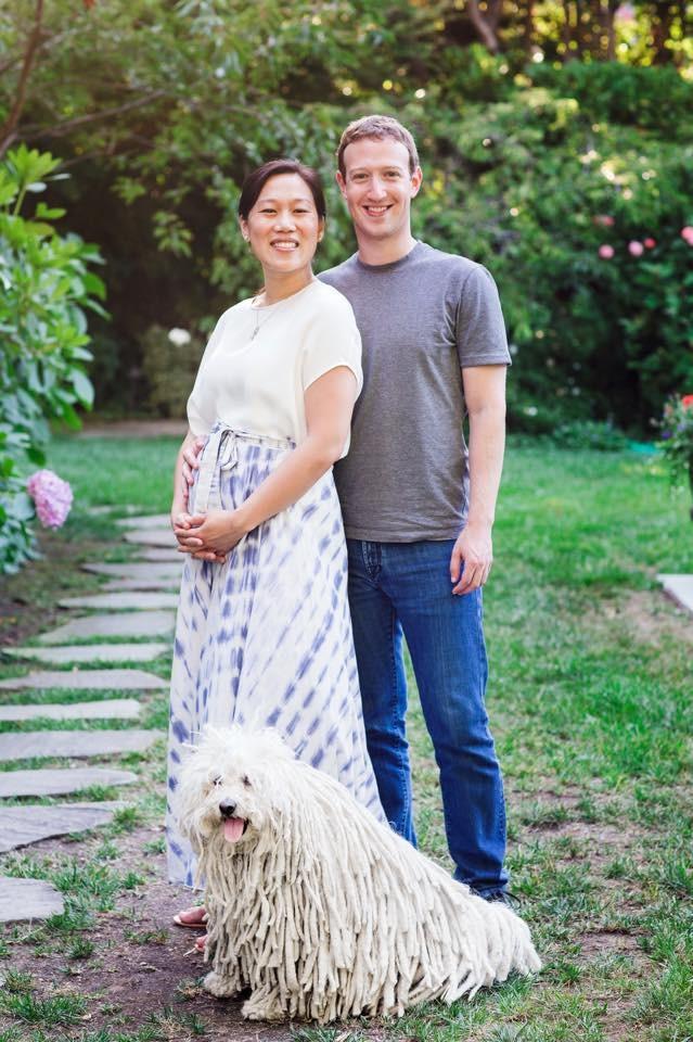 Mark e Priscilla quando anunciaram que iriam ser pais