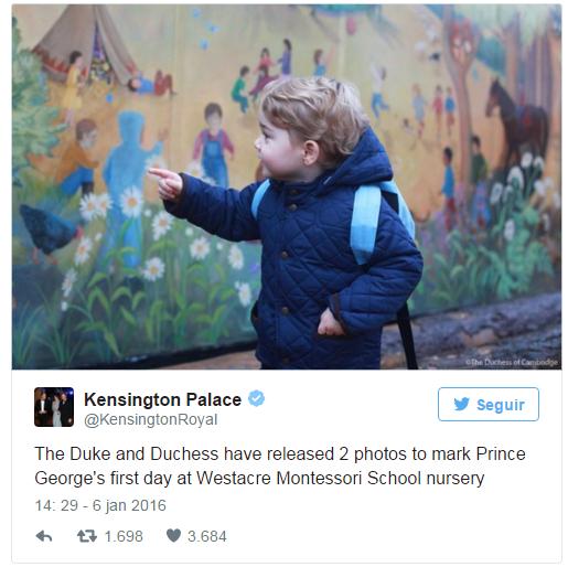 Príncipe George indo para seu primeiro dia na escola (Foto: Divulgação)