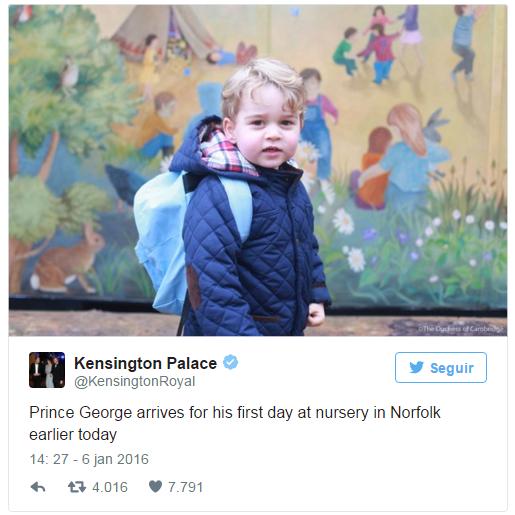 Príncipe George em seu primeiro dia na escola (Foto: Divulgação)