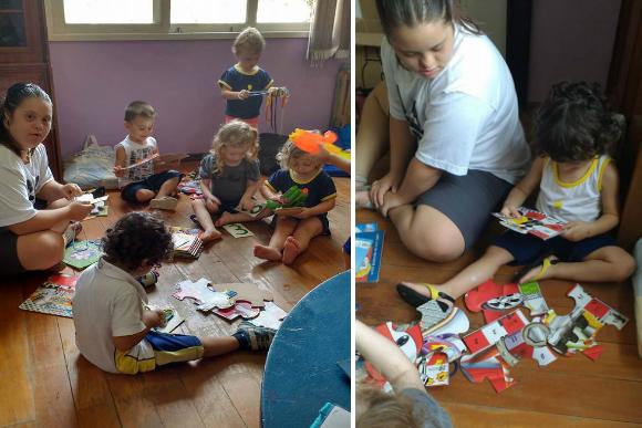 Julia faz atividades lúdicas com as crianças (Foto: Sharlene Fritzke)