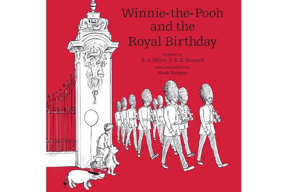 """Essa é a capa do livro em que aparecem ilustrações do Príncipe Jorge e da Rainha (Imagem: Reprodução/ """"Winnie-the-Pooh and the Royal Birthday"""")"""