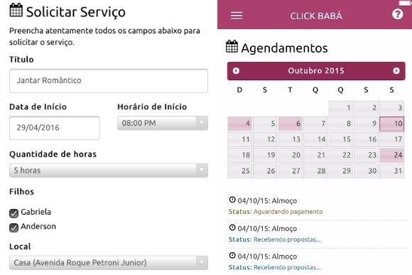A plataforma permite o agendamento do serviço com até oito horas de antecedência (Imagens: Divulgação)