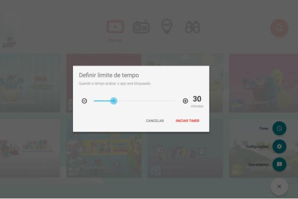 O app permite que os pais delimitem o tempo de uso das crianças (Imagem: Reprodução/ YouTube Kids)