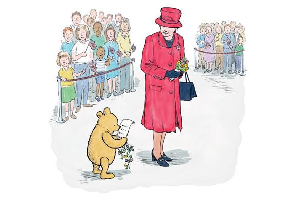 """Rainha recebe uma homenagem do ursinho Pooh (Imagem: Reprodução/ """"Winnie-the-Pooh and the Royal Birthday"""")"""