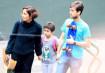 Camila, a filha, Antônia Peixoto, e o namorado, Igor Angelkorte