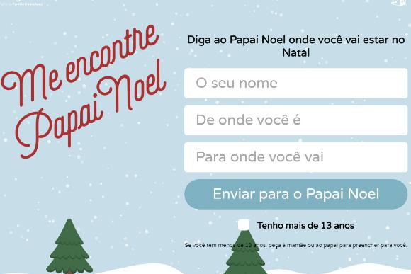 (Reprodução site Me encontre, Papai Noel)