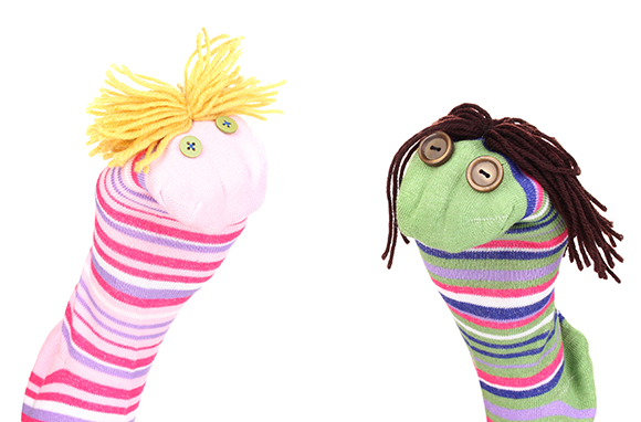 Cute sock puppets isolated on whiteCute sock puppet isolated on white