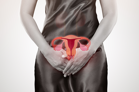Woman with hands holding her crotch. Human reproductive system. Female anatomy concept.