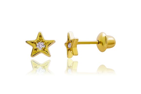 Brinco Estrela em ouro amarelo 18K com diamantes R$69000 JULIA BLINI