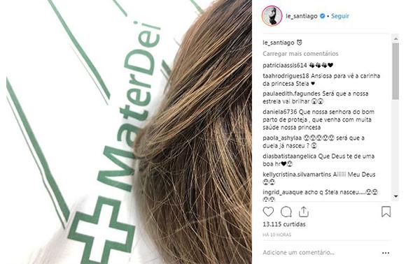 A ex-BBB Letícia Santiago deu à luz a sua qurta filha (Foto: Reprodução/ Instagram @le_santiago)