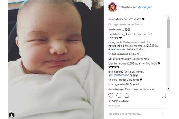 Filho recém-nascido de Milena Toscano sai em foto sorrindo (Foto: Reprodução/ Instagram @milenatoscano)