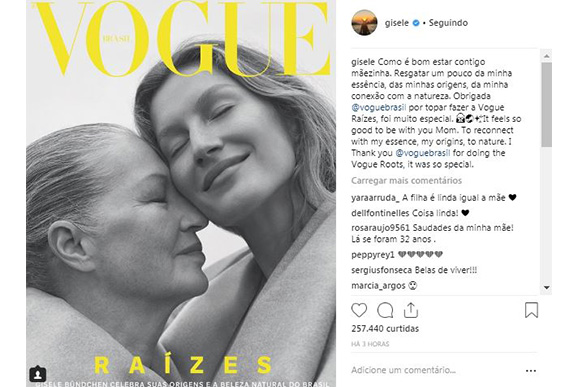 Gisele relembra suas raízes em capa da Vogue Brasil (Foto: Reprodução/ Instagram @gisele)
