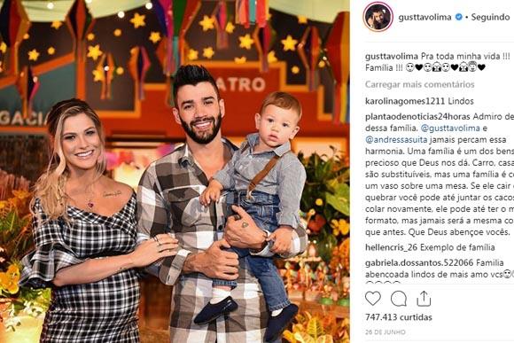 Gustavo Lima na comemoração de 1 anos de idade do Gabriel, seu primeiro filho com Andressa Suita (Foto: Reprodução / Instagram)