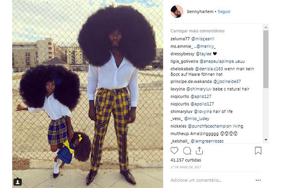 Pai e filha fazem penteados incríveis e posam no Instagram (Foto: Reprodução/ Instagram @bennyharlem)