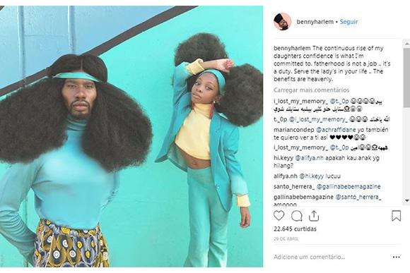 Pai e filha bombam na internet com seus penteados (Foto: Reprodução/ Instagram @bennyharlem)