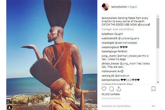 Homem com maior topete do mundo e cabelo incrível de sua filha (Foto: Reprodução/ Instagram @bennyharlem)