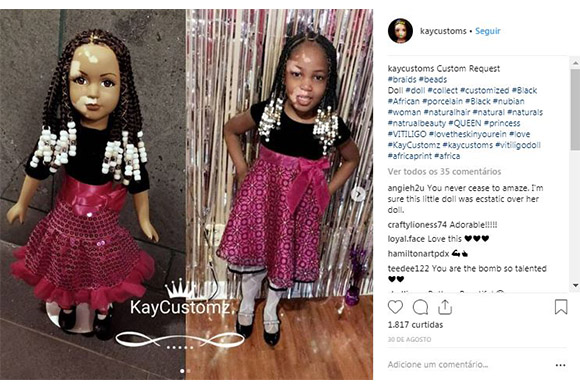 Artesã norte-americana produz linha de bonecas com vitiligo (Foto: Reprodução/ Instagram @kaycustoms)
