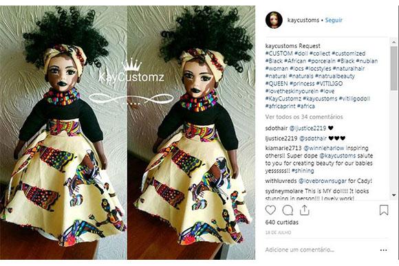 A artista também faz bonecas com roupas inspiradas na África (Foto: Reprodução/ Instagram @kaycustoms)