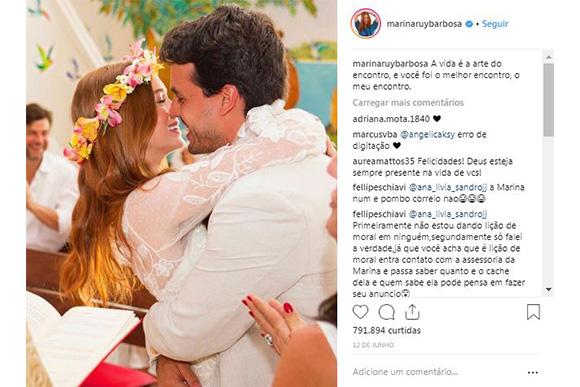Marina Ruy Barbosa já olhou o celular do marido antes deles se casarem (Foto: Reprodução/ Instagram @marinaruybarbosa)