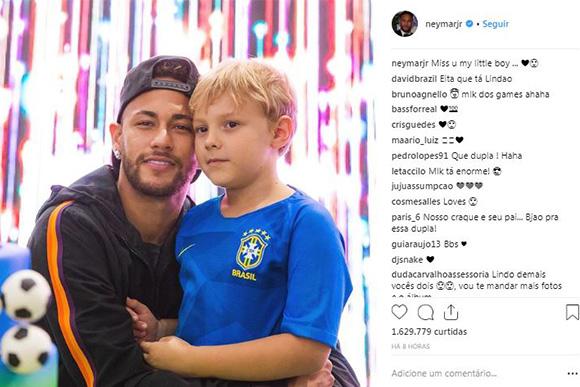 Neymar Jr. posta foto com Davi Lucca e declara sentir saudades (Foto: Reprodução/ Instagram @neymarjr)