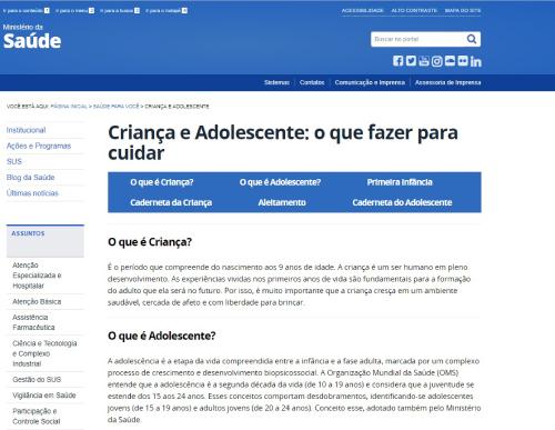 O layout do site é simples, mas intuitivo (Foto:Reprodução/ Site Ministério da Saúde)