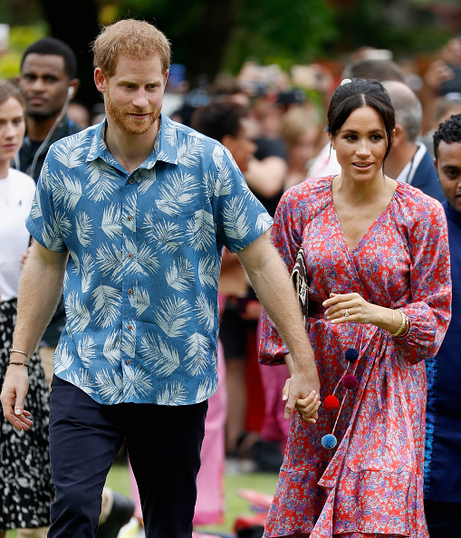 SUVA, FIJI - OCTOBER 24: Prince Harry, Duke of Sussex and Meghan, Duchess of Sussex attend University of the South Pacific on October 24, 2018 in Suva, Fiji. The Duke and Duchess of Sussex are on their official 16-day Autumn tour visiting cities in Australia, Fiji, Tonga and New Zealand. (Photo by Chris Jackson/Getty Images)