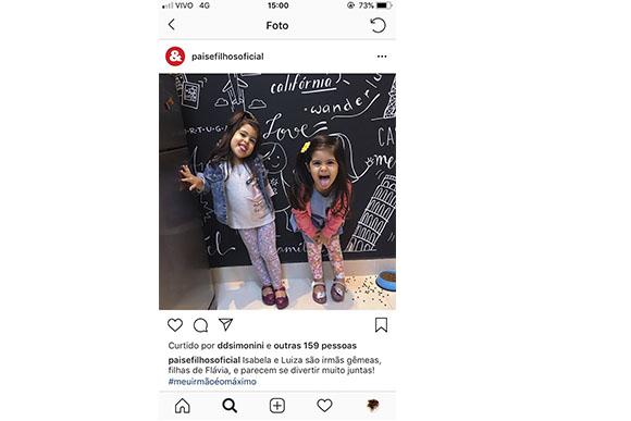 Acompanhamos o dia do irmão dos nossos leitores com a hashtag #meuirmãoéomáximo. Essas são as gêmeas Isabela e Luiza, fi lhas da Flávia