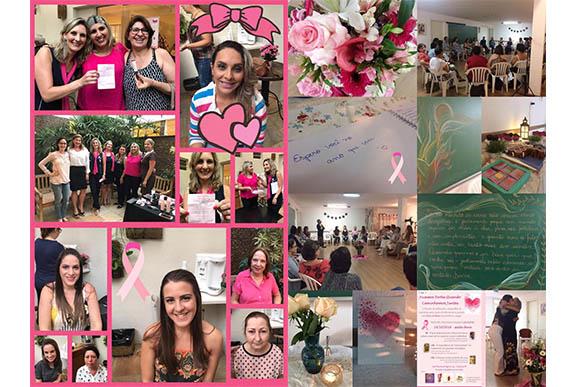 Aline fez diversas ações voluntárias nesse outubro rosa (Foto: arquivo pessoal)