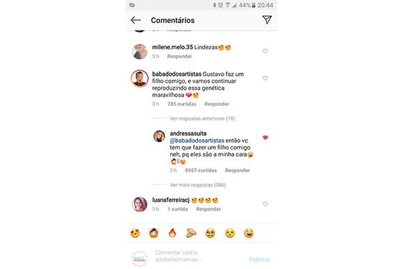 Andressa Suita responde fã que comentou em foto de Gusttavo Lima (Foto: Reprodução/ Intagram @gusttavolima)
