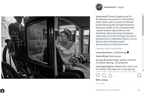 Princesa Eugenie e seu marido em carruagem (Foto: Reprodução/Instagram @alexbramall)
