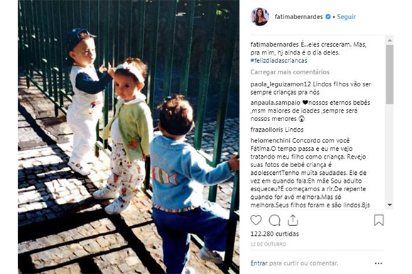 Fátima Bernardes comemora aniversário dos trigêmeos (Foto: Reprodução/ Instagram @fatimabernardes)
