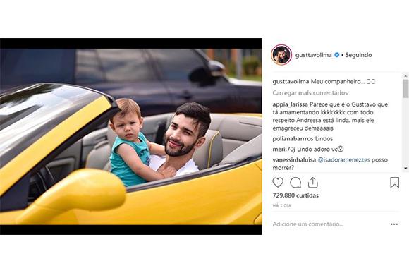 Gusttavo Lima posa com filho em carrão (Foto: Reprodução/ Instagram @gusttavolima)