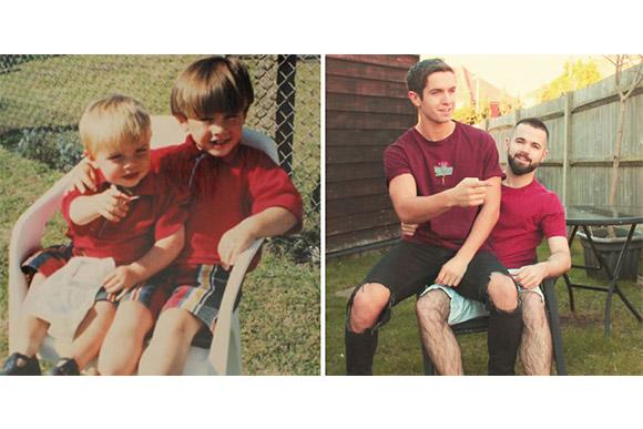 Irmãos recriam fotos da infância para presentear mãe (Foto: Bored Panda)