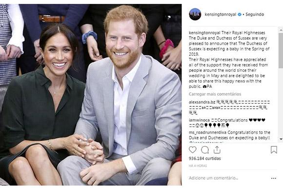Príncipe Harry e Megan Markle anunciam gravidez do primeiro filho (Foto: Reprodução/ Instagram @kensingtonroyal)