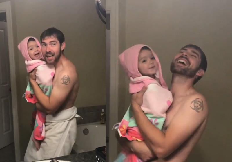 """Pai e filha ao som de """"Girl Like You"""" (Foto: Reprodução - Twitter)"""
