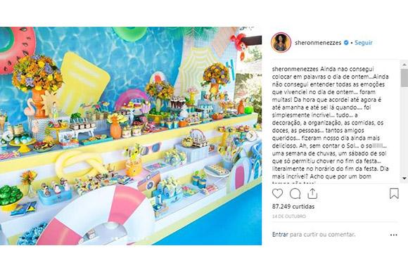 Sheron Menezzes comemora aniversário do filho de 1 ano com pool party (Foto: Reprodução/ Instagram @sheronmenezzes)