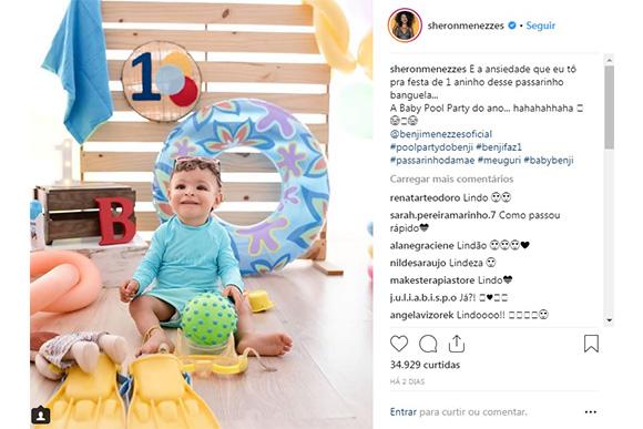 Sheron Menezzes faz contagem regressiva para pool party do filho de 1 ano (Foto: Reprodução/ Instagram @sheronmenezzes)