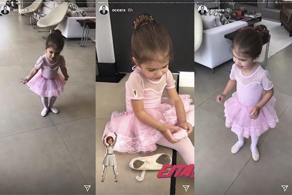 Valentina mostra os novos passos de balé para o pai (Foto: Reprodução/ Instagram @oceara)
