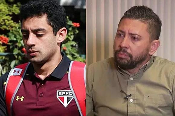 O jogador Daniel e o suspeito Edison Brittes (Rubens Chiri/saopaulofc.net - TV Globo/Reprodução)