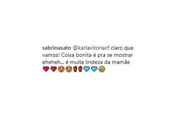 Sabrina Sato responde se vai mostrar o rosto da filha Zoe.