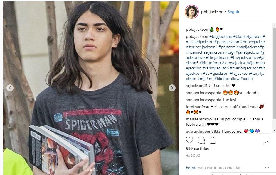 Blanket, filho de Michael Jacksin, em LA (Foto: Instagram/@bigijacksonfans)